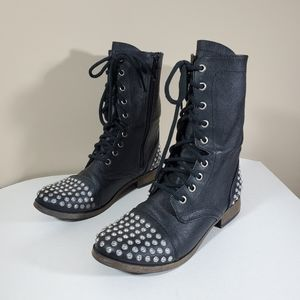 American Eagle Outfitters Black Moto Boots 8